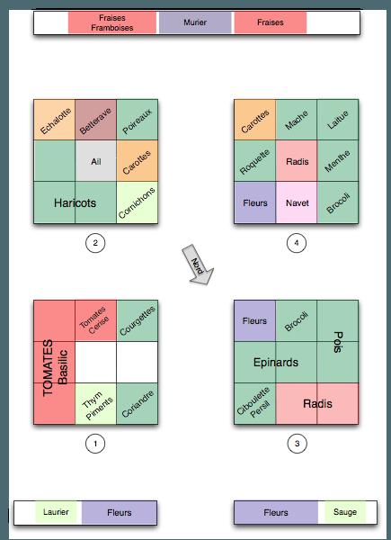 Planification de cultures du potager en carrés pour 2010