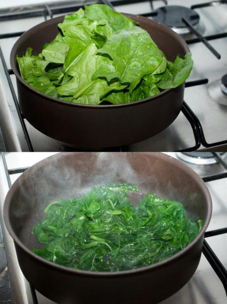 Épinards avant et après cuisson