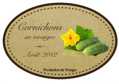 Etiquette pour vos cornichons au vinaigre