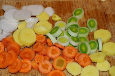 Les légumes découpés en rondelles
