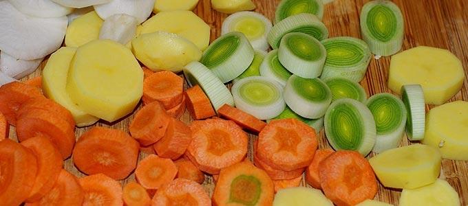 Découpe des légumes pour le potage