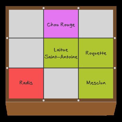 Planification des cultures pour mars et avril dans le quatrième potager en carré