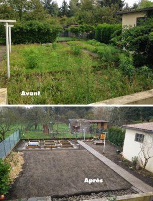 Comparaison jardin avant après