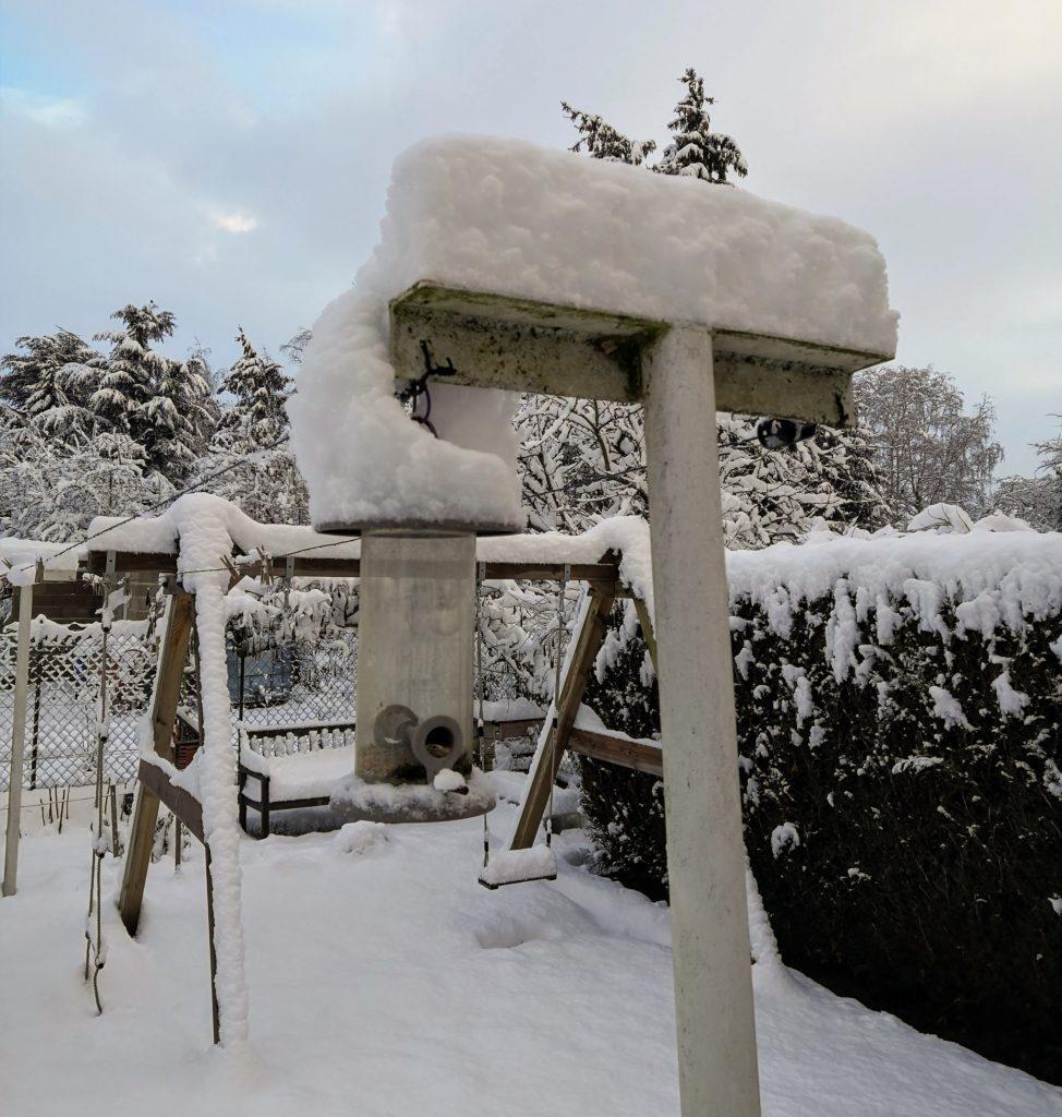 mangeoire pour oiseaux sous la neige