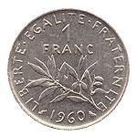 Pièce de 1 franc rameau olivier